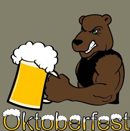Oktoberfest strong bear cartoon sticker in vector format  イラスト・ベクター素材