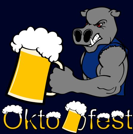 Oktoberfest strong hippo cartoon sticker in vector format