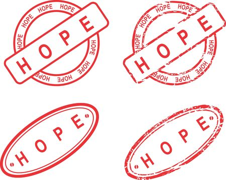 Hope in red stamp sticker seal collection in vector format