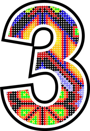 mexican huichol art three number in vector format