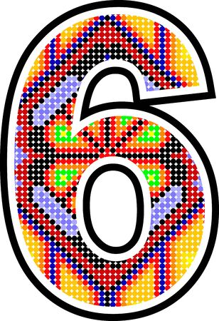 mexican huichol art six number in vector format