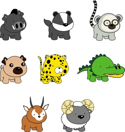 cute baby animals kawaii cartoon collection set in vector format