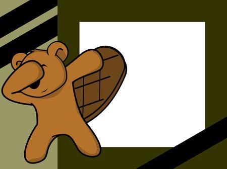 dab dabbing pose beaver kid cartoon picture frame background Illustration