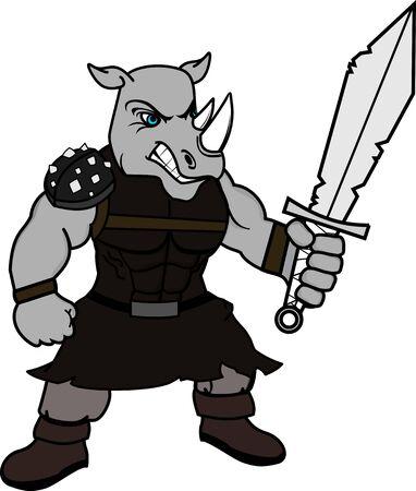 Strong rhino gladiator warrior cartoon in vector