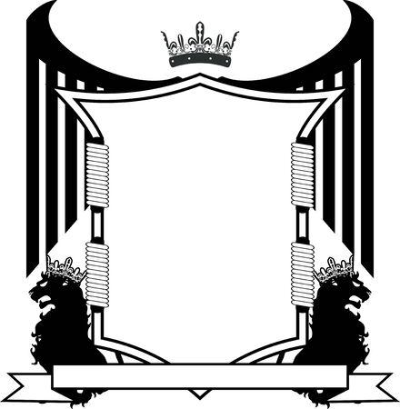 heraldic shield crest emblem coat of arms tattoo in vector format Ilustração