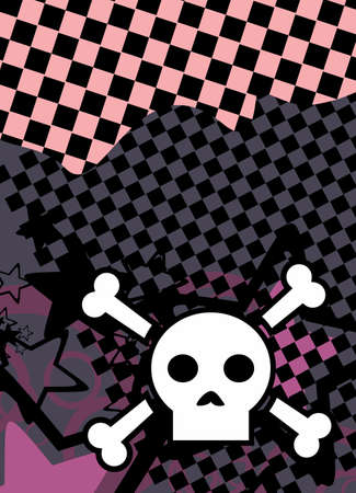 emo style cartoon skull and stars cel phone wallpaper background in vector format Illustration