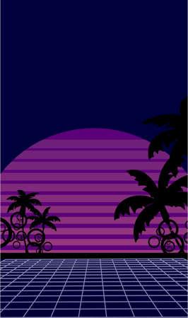 neon 80s summer sunset wallpapers background in vector format Vectores