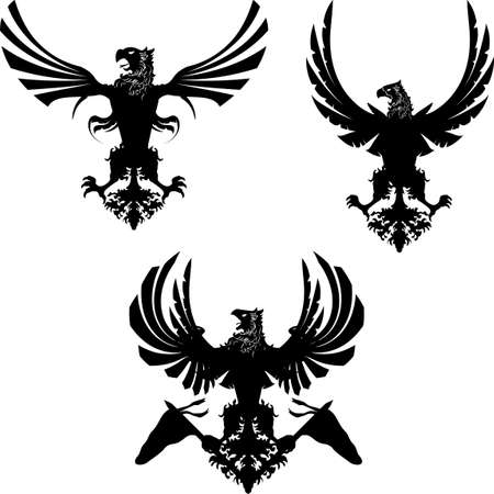 heraldic eagle set collection in vector format