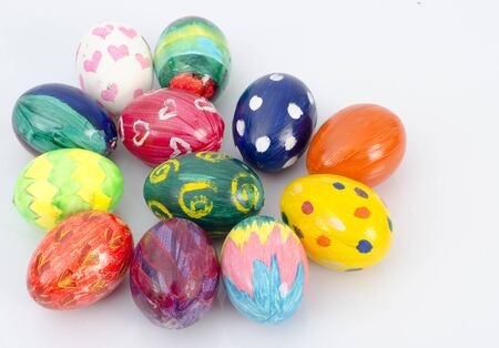 Easter eggs and white  background