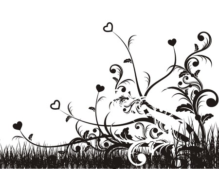 inked: artistic background with folliage and hearts symbol, vector file very easy to edit, individual objects
