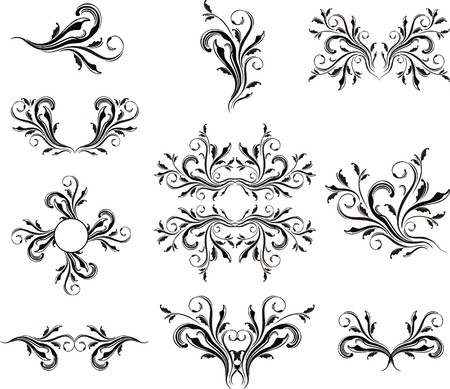 set of caligraphic ornaments vector format very easy to edit, individual objects