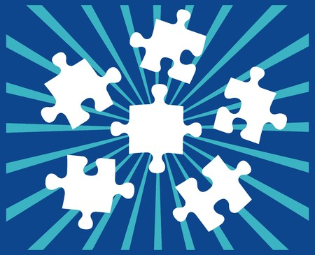managed: puzzle pieces, vector file very easy to edit, individual objects Illustration