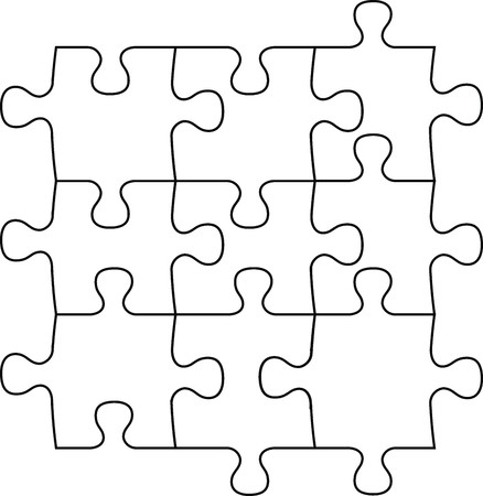 jigsaw puzzle: puzzle pieces, vector file very easy to edit, individual objects Illustration