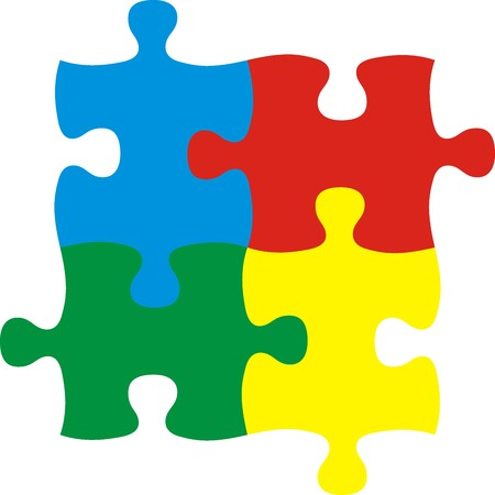 puzzle pieces, vector file very easy to edit, individual objects Illustration