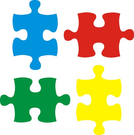 jig saw puzzle: puzzle pieces, vector file very easy to edit, individual objects Illustration