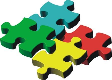 puzzelstukjes, vector bestand heel gemakkelijk, individuele objecten bewerken Stock Illustratie