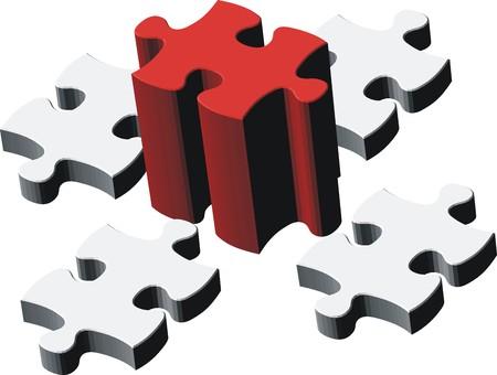 Puzzleteile, Vektor-Datei sehr einfach zu bearbeiten, zu einzelnen Objekten  Standard-Bild - 2767053