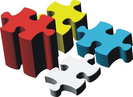 puzzel stukjes, vector bestand heel gemakkelijk te bewerken, individuele objecten Stock Illustratie