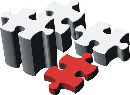 puzzel stuks, heel eenvoudig bewerken, afzonderlijke objecten bestand vector