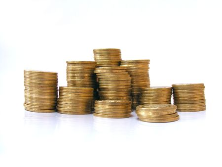 A pile of coins shot on a white background photo