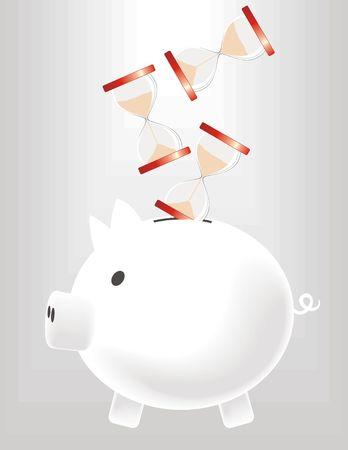 metaphoric image of piggybank saving time Stock Photo