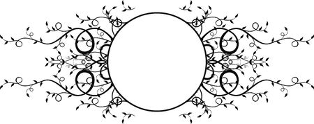coy: floral frame adornment with coy space, individual objects very easy to edit Stock Photo