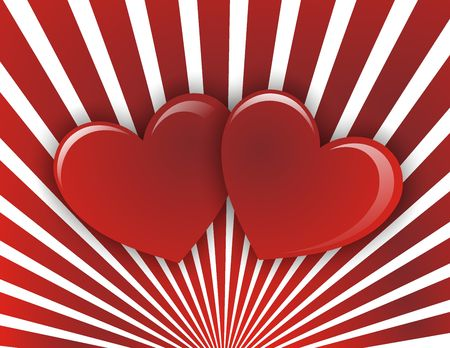Valentines day background whit two red heart