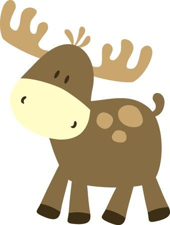 alce: infantile ilustration di cervo, molto facile da dit, indvidual oggetti