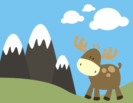 ilustration: childish ilustration of  deer, very easy to dit, indvidual objects Illustration