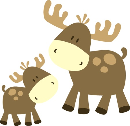 childish ilustration of  deer, very easy to dit, indvidual objects Vector