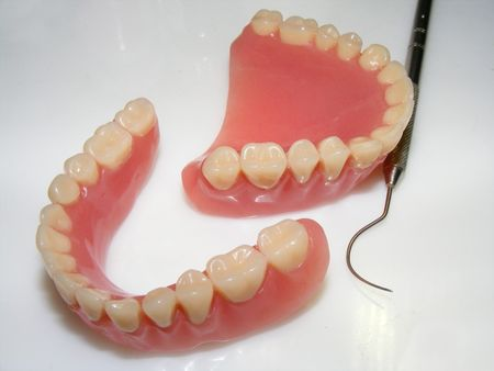 molars: picture of a false teeth Stock Photo