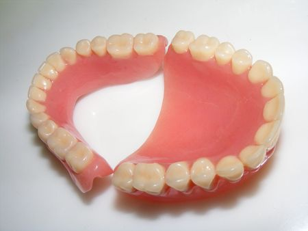 gingivitis: picture of a false teeth Stock Photo