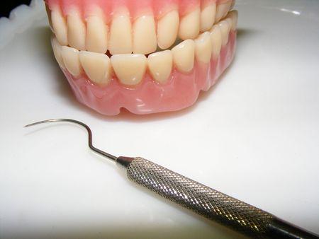 molares: imagen de una falsa dientes  Foto de archivo
