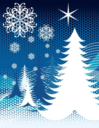 wintertime background with christmas pines and ornamental snowflakes in vector format very easy to edit Stock Vector - 3689962