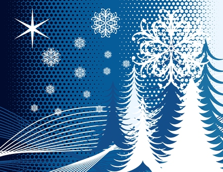 wintertime background with christmas pines and ornamental snowflakes in vector format very easy to edit Stock Vector - 3689963