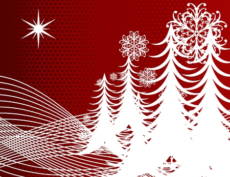 wintertime background with christmas pines and ornamental s in vector format very easy to edit Stock Vector - 3689964