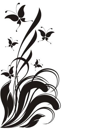 蝶と装飾品 copyspace、個々 のオブジェクトを編集する非常に簡単  イラスト・ベクター素材