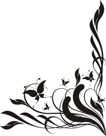 スワール: 蝶と装飾品 copyspace、個々 のオブジェクトを編集する非常に簡単  イラスト・ベクター素材