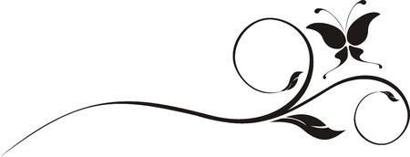 twirl: mariposa y adornos copyspace con cada uno de los objetos muy f�cil de editar Vectores