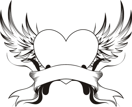 wings isolated: heart shape with design elements, individual objects very easy to edit