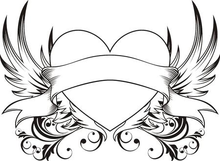 tatouage art: coeur forme avec les �l�ments de la conception, les objets de tr�s facile � modifier