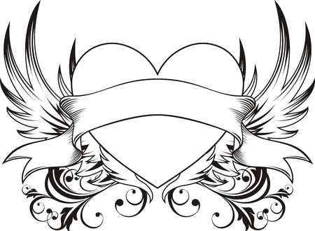 heart and wings: heart shape with design elements, individual objects very easy to edit