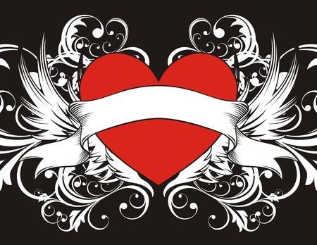 corazon con alas: forma de coraz�n con elementos de dise�o, cada uno de los objetos muy f�cil de editar Vectores