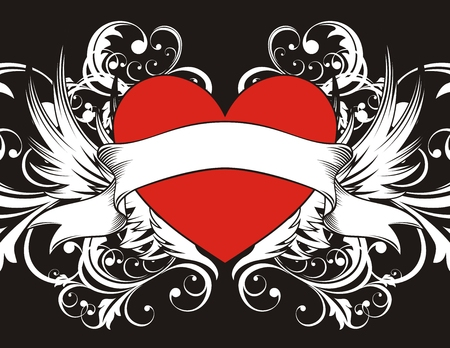 heart with wings: heart shape with design elements, individual objects very easy to edit