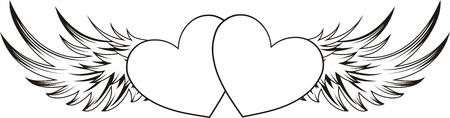 corazon dibujo: forma de coraz�n con elementos de dise�o, cada uno de los objetos muy f�cil de editar Vectores