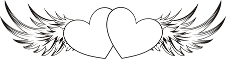heart tattoo: heart shape with design elements, individual objects very easy to edit
