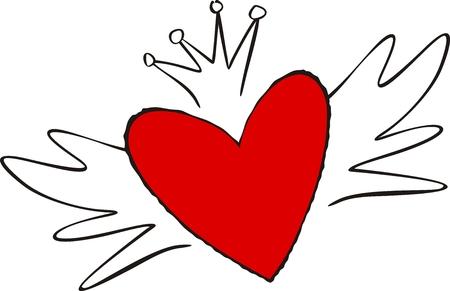 emo: gevleugelde hart afzonderlijke objecten zeer gemakkelijk te bewerken Stock Illustratie