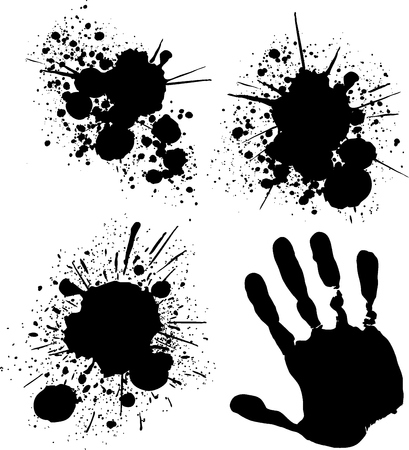 paints: isolated grungy ink splats, vector format very easy to edit