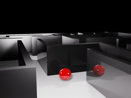 difficult mission: metaphoric image, ball in labyrinth Stock Photo
