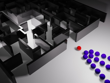 metaphoric image, red ball leadering in labyrinth